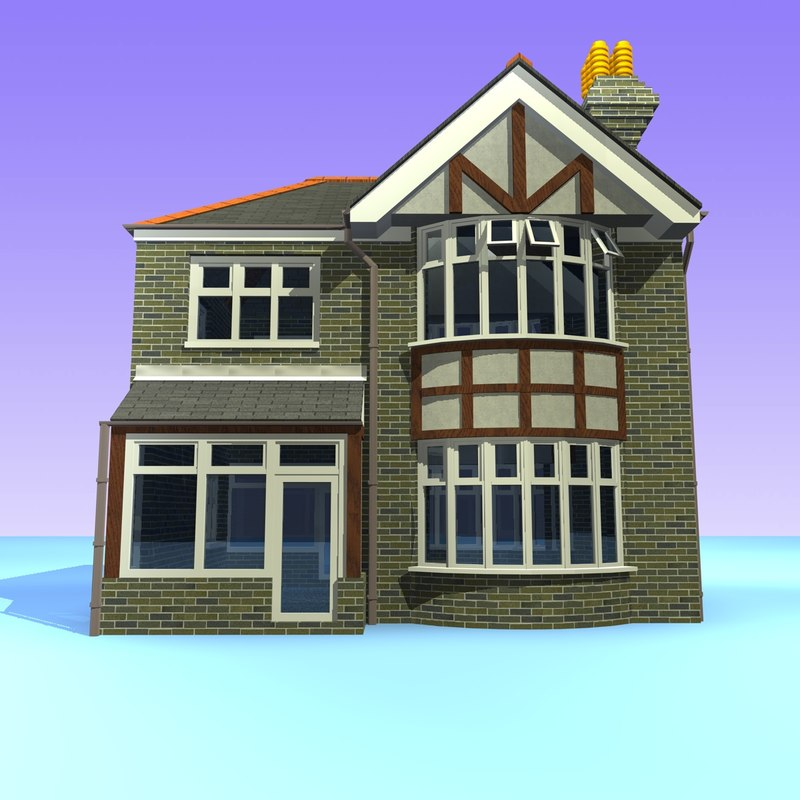 3d model 2 british detached houses