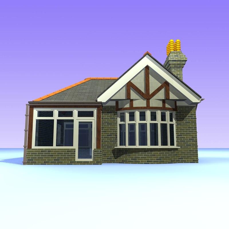 3d Model Of British Bungalow House Unit