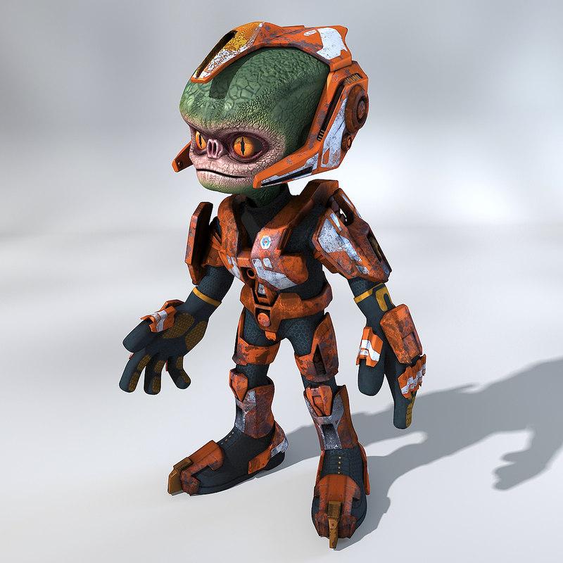 cartoon alien trooper 3d max