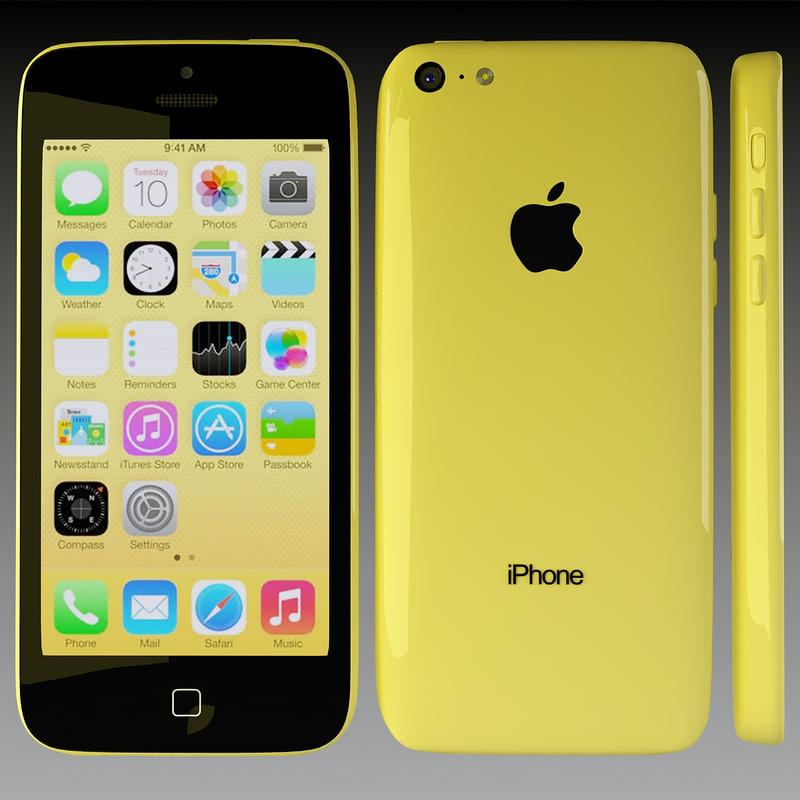 3d apple iphone 5c yellow model