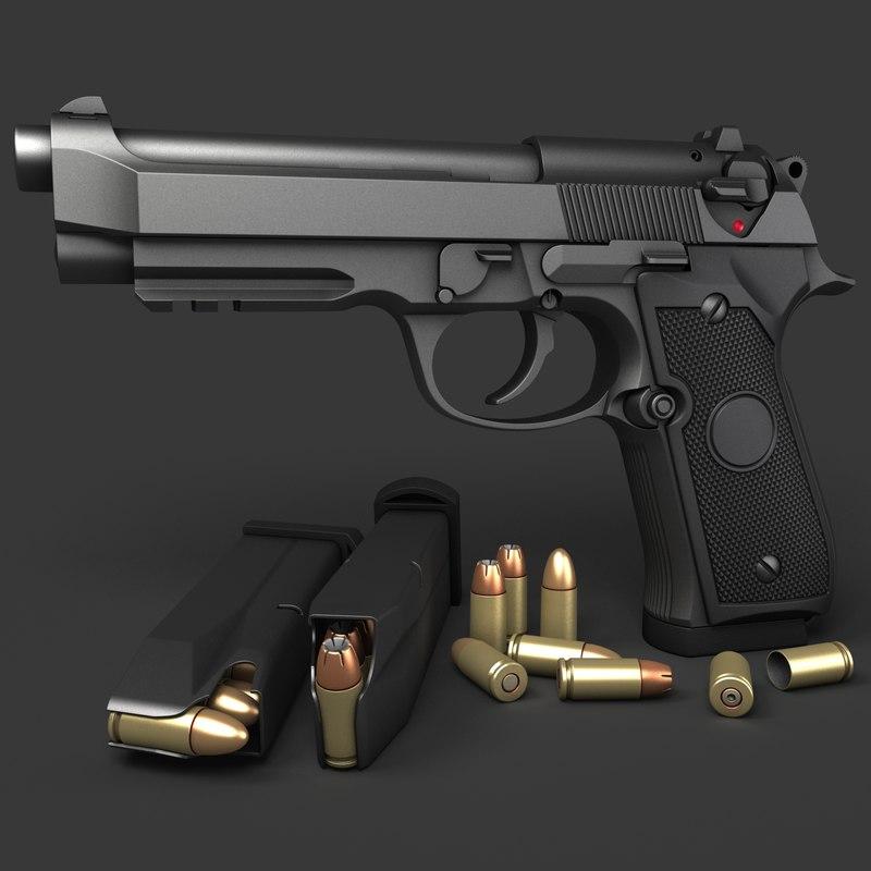 3d beretta pistols 92a1