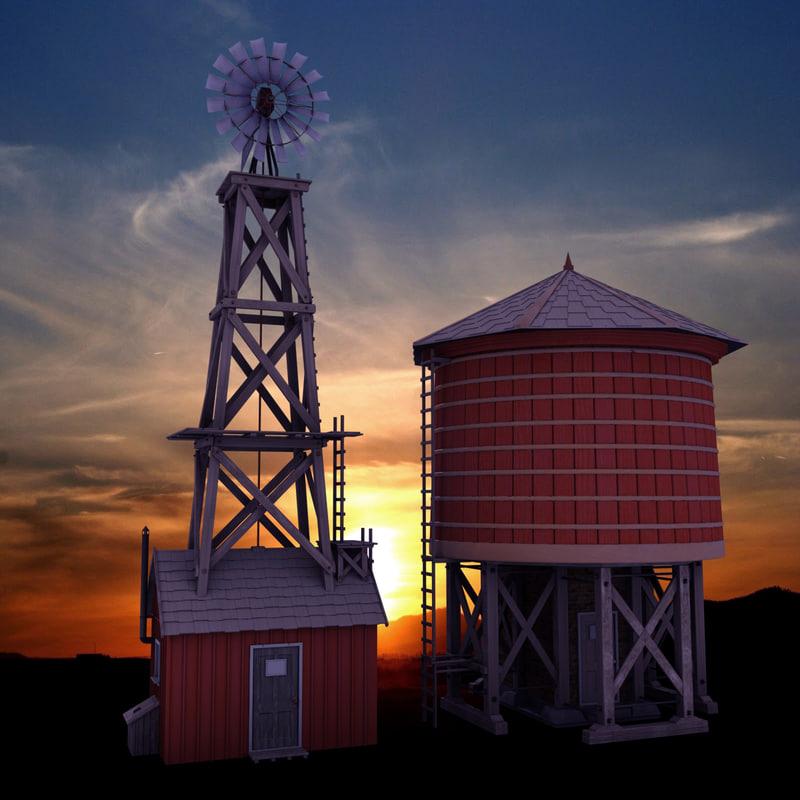 farm windmill water tower 3d model
