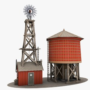 farm windmill water tower 3d model