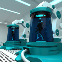 3d futuristic medical center model
