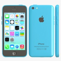 3d model of apple iphone 5c blue