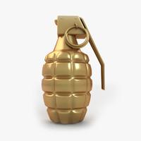 golden grenade 3d model
