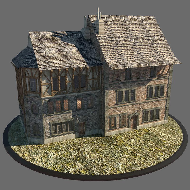 3d medieval city houses model