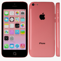 apple iphone 5c red 3d max