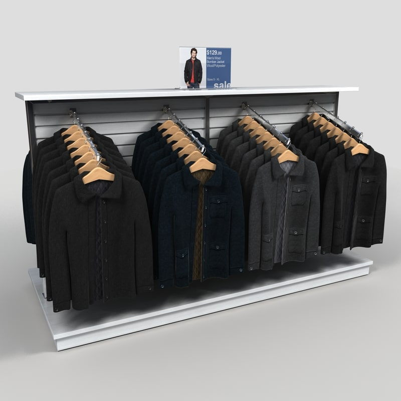 clothing rack mens coats 3d model