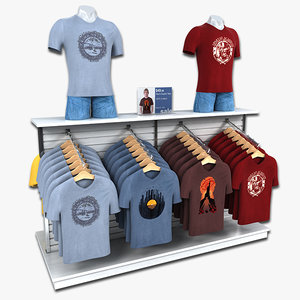 3d clothing rack mens t-shirts model