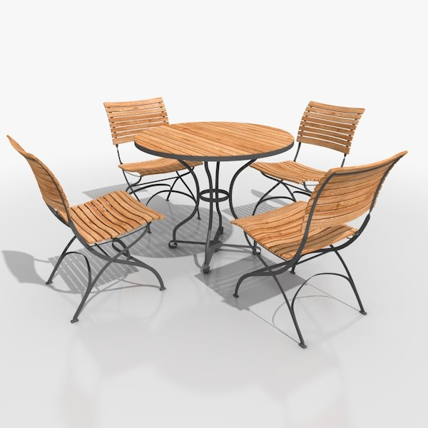 3d model of classical patio furniture set