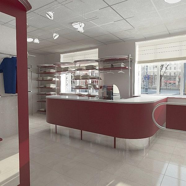 3d model of clothes shop interior