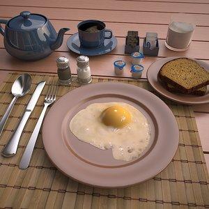 3ds max scene fried egg