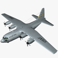 c-130 hercules military transport 3d max