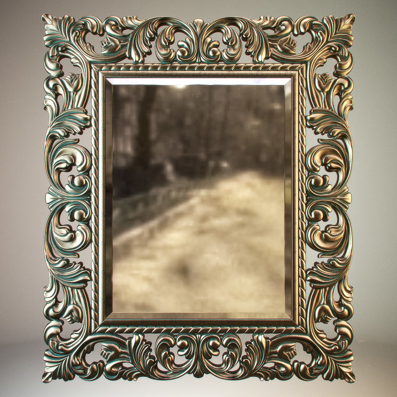 max carved mirror bronze patina