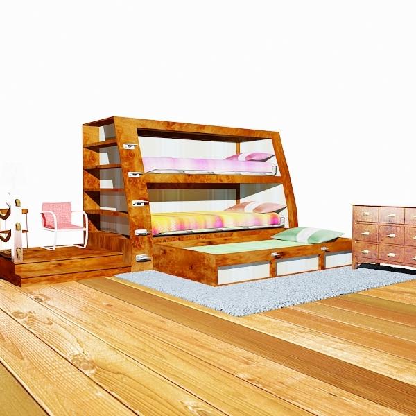 3d model bedroom bunk beds