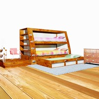 3d model bedroom bunk beds