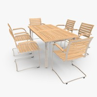 Cantilever Furniture Set Stainless Steel & Teak 02