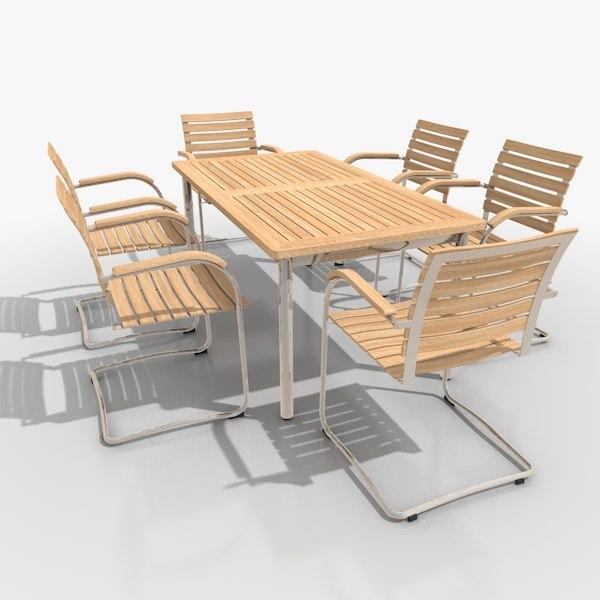 cantilever patio furniture set 3ds