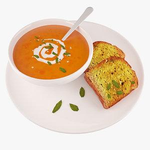 3d tasty soup