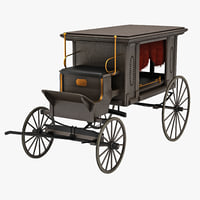 3d model hearse wagon