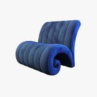 3d blue fabric armchair model