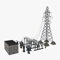 3d model of substation transformators