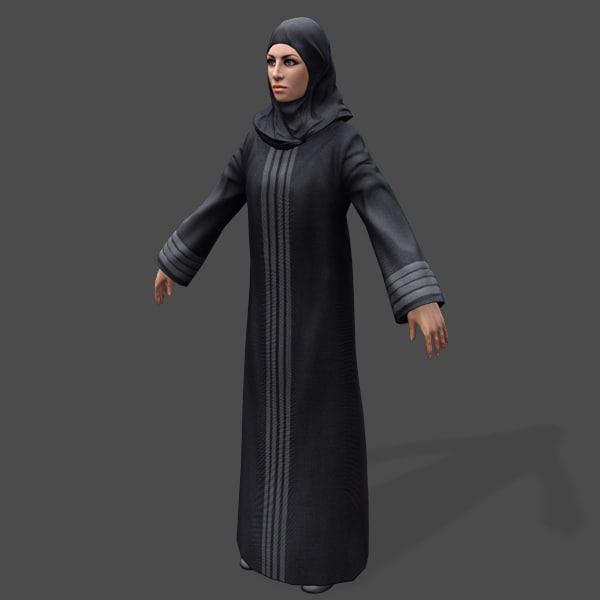 games arabic civilians female 3d model