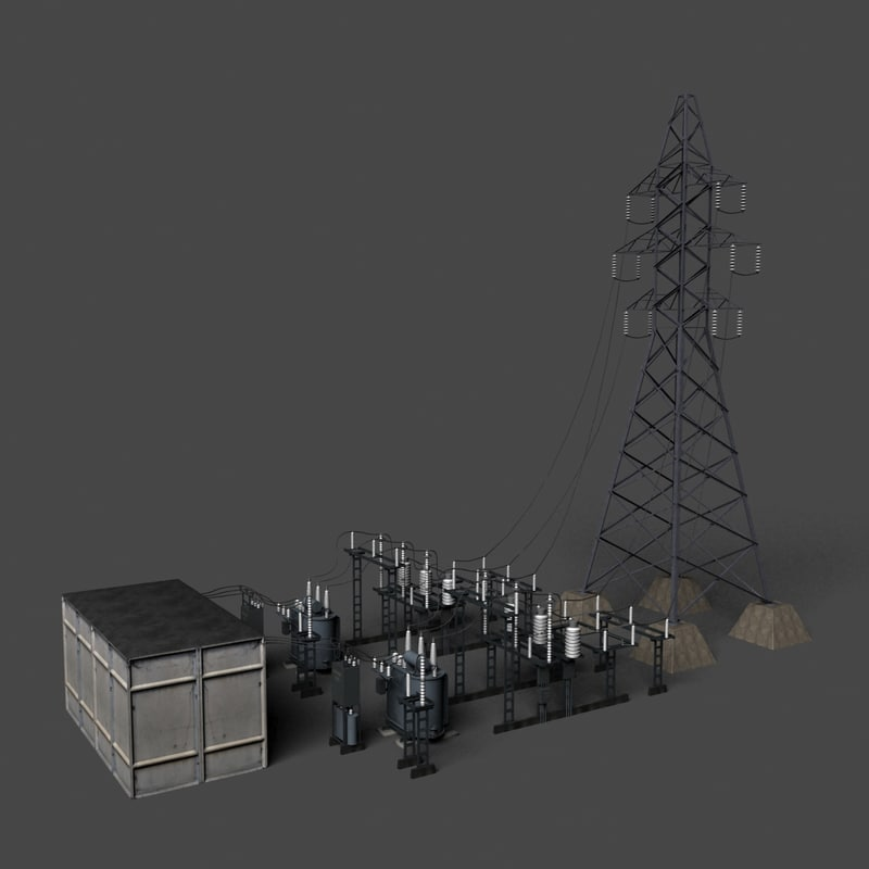3d model of substation transformators