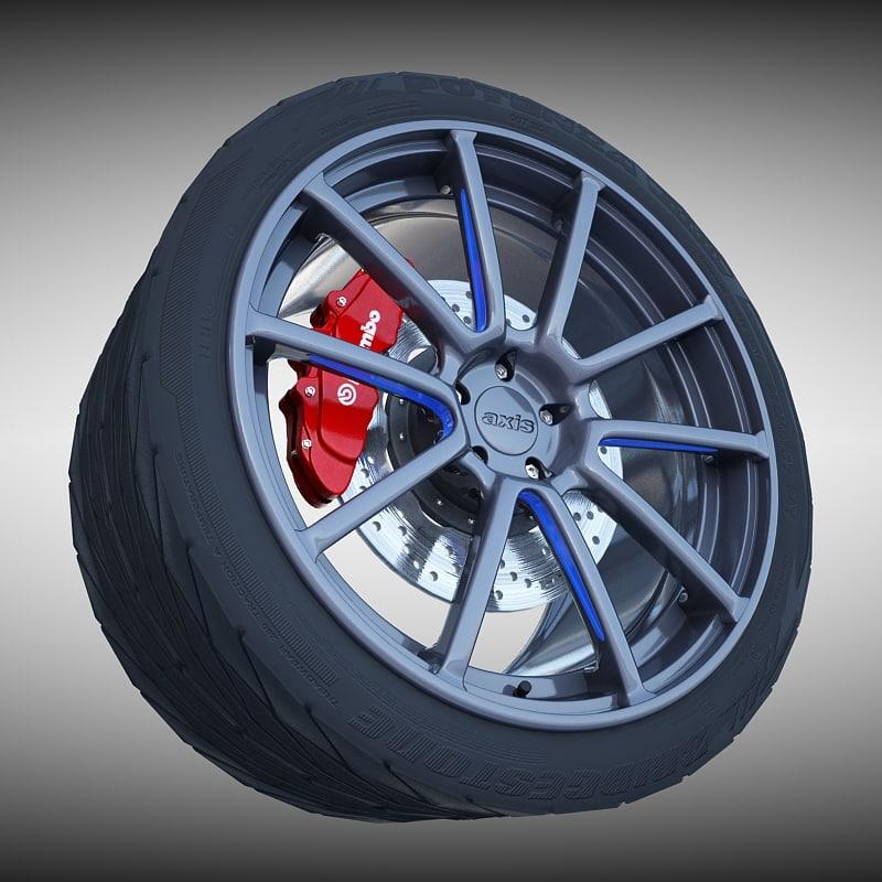 axis sport wheel tire 3d model