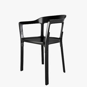3d steelwood chair design
