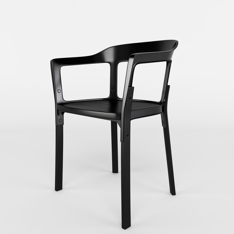 3d steelwood chair design for Magis steelwood