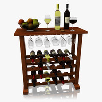 realistic wine bar set obj