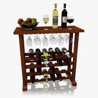 realistic wine bar set obj
