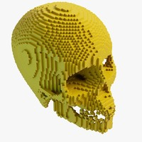 3dsmax pixel human skull