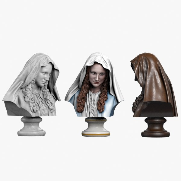3d model bust virgin mary