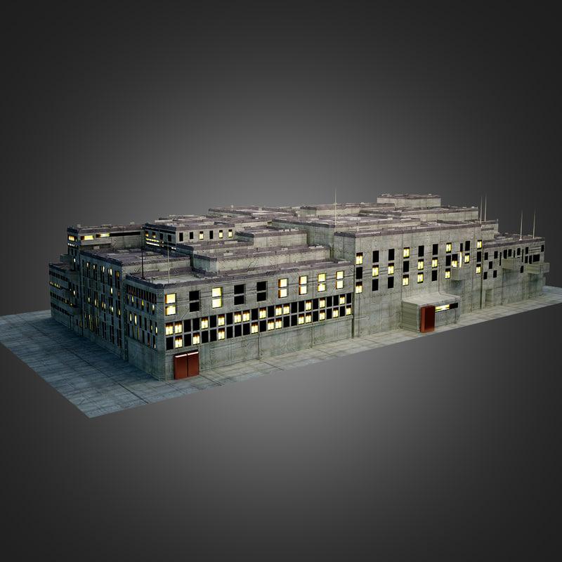 sci fi city block 3d 3ds