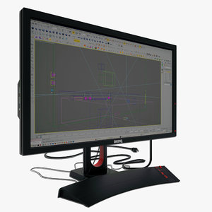 benq xl20t monitor 3d model