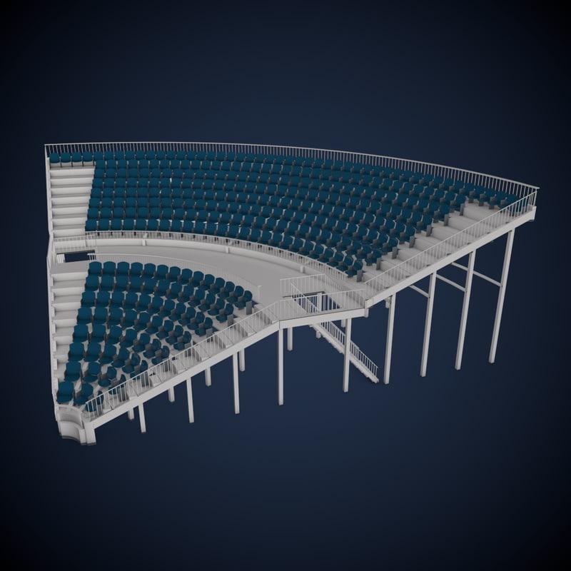 grandstand seating corner section 3d model