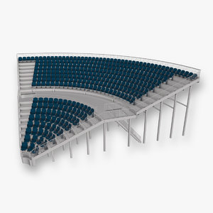 grandstand seating corner section 3d model