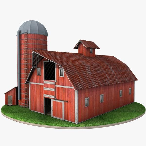 3d farm red barn silo