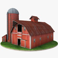3d farm red barn silo