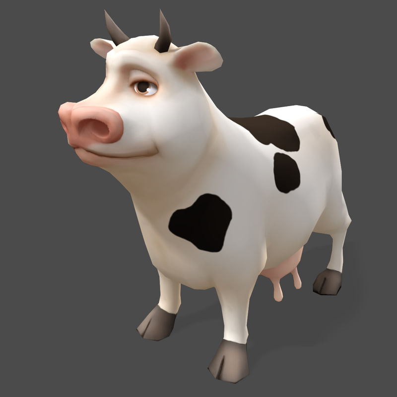 cartoon animals cow real-time