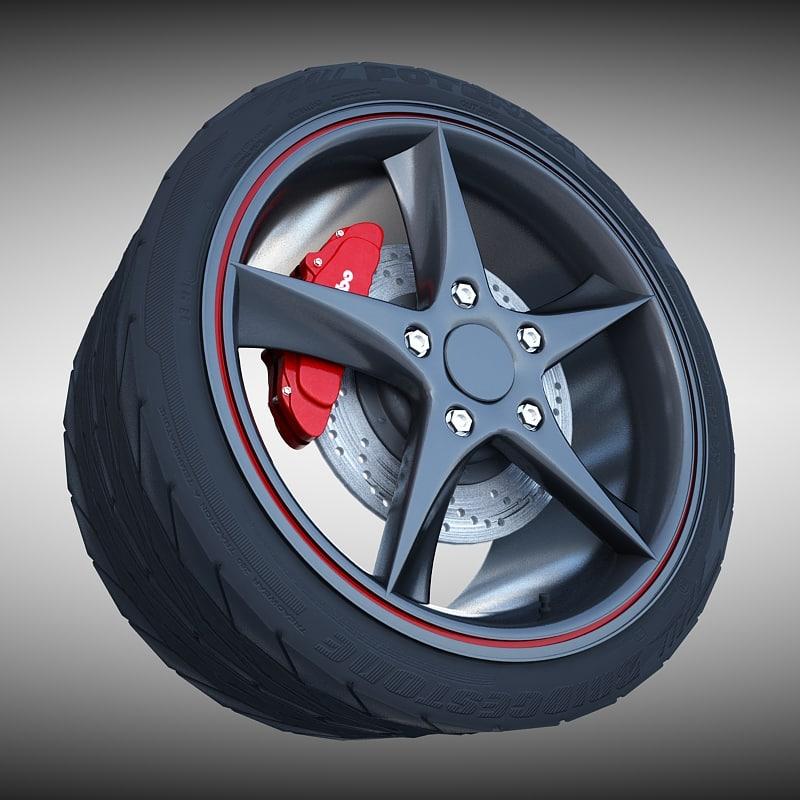 3d model audi r8 spyder wheel tire