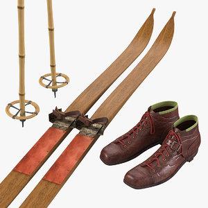max vintage ski equipment set
