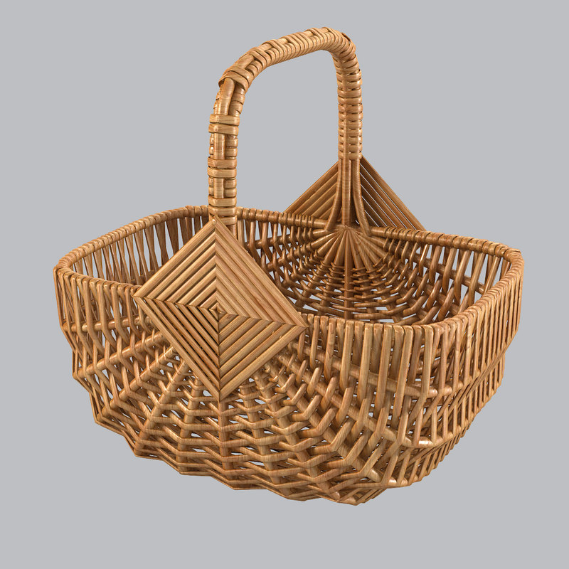 3d wicker shop basket