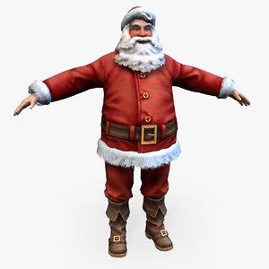 3d model new year santa real-time