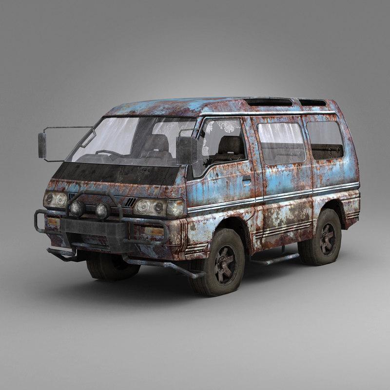 3d rusty car model