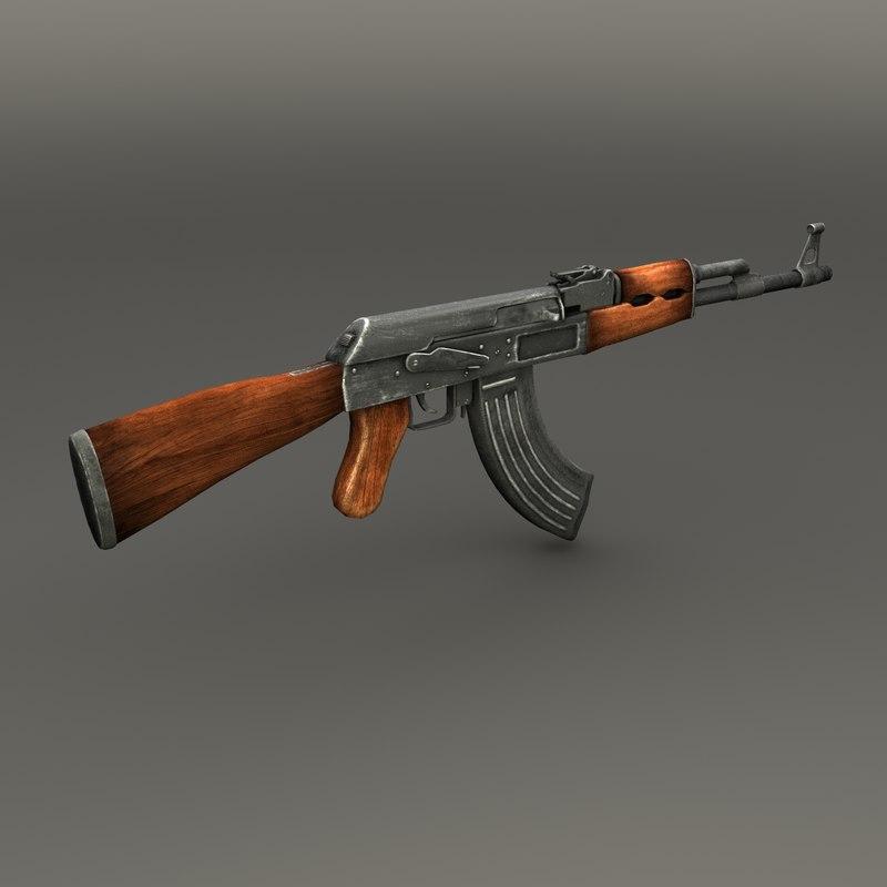 3d ak47 assault rifle