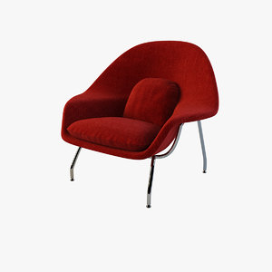 3d model of womb chair red knoll